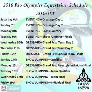 Calendar Equestrian Sport Rio 2016 by EquiNL