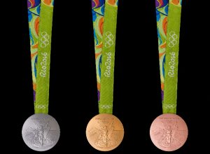 The medals feature images of Nike the Panathinaiko Stadium and the Acropolis Photo Rio 2016 Alex Ferro