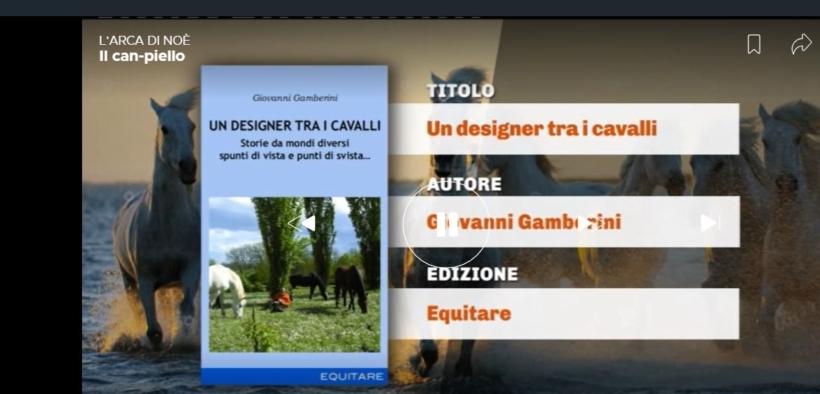"""[VIDEO]: il volume """"Un designer tra i cavalli"""" nel programma """"L'Arca di Noé"""""""